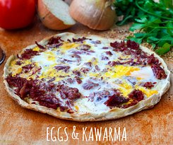 The Baked Eggs and Kawarma (shredded slow cooked beef)