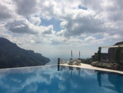 The infinity pool floating above the Mediterranean Sea