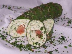 Bärlauch- Schafskäseroulade mit Räucherlachskern