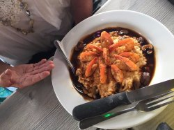 Shrimp and grits with mushroom gravey