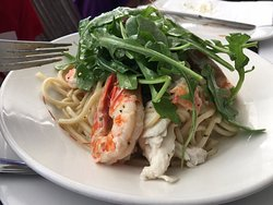 Bug and prawn spaghetti with kaffir lime and coconut cream
