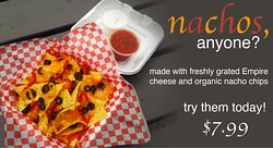 Our nachos made with freshly grated Empire cheese and organic nacho chips are the best snack!