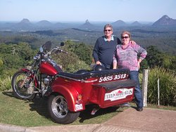 The view of The Glasshouse Mountains from Mary Cairncross Park
