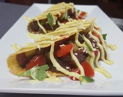 Bonito tuna tacos with wasabi mayo!