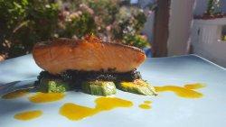 Salmon with black cous-cous & mandarine sauce!