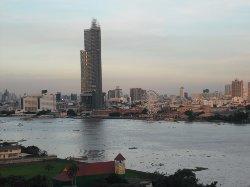 Bangkok riverfront at sun rise.