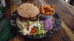 Chilli burger, chips, salad and red cabbage coleslaw