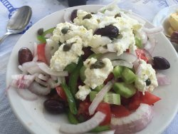Naxian salad with local cheese. So good!!!