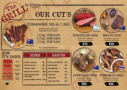 our new Grill menu with 1st class imported meat