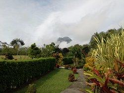 Vista al volcán desde el jardín.