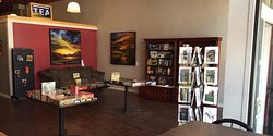 There's plenty of comfy seating and paintings by local artists.