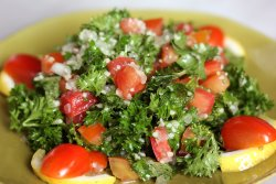 MAYDONOZ SALATASI- Fresh parsley, tomatoes and cous cous with organic extra virgin olive oil