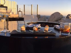 Appetizers by fire pit