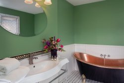 Canandaigua ensuite brand new bath with copper tub, walk-in MacKenzie-Childs 2-person shower