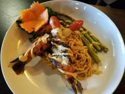 Grilled Jumbo Shrimp with delicious Garlic Noodles and fresh Asparagus.