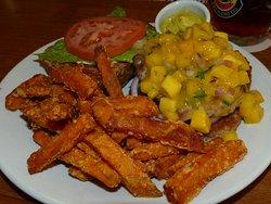 Turkey burger and sweet-potato fries