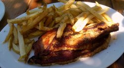 Light snack of lamb chops & chips