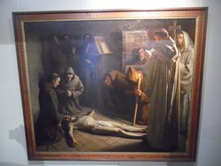 Painting 'The death of Franciscus' by Ernest Wante.