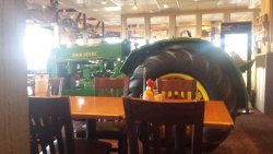 Tractor smack dab in the middle of the dining room!