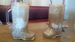 Root Beer Floats served in a Glass Boot!