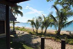 La terrasse d'un bungalow plage