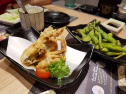 soft shell crab and edamame