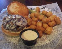 Wellington's - Mushroom-Swiss Burger and Tots