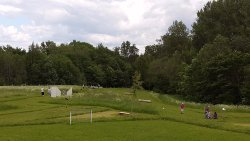 There are 18 holes available for play with different obstacles and hazards