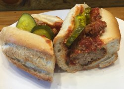 Our classic meatball sandwich with your choice of pickles.