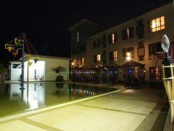 Night view of the children and adult pool.