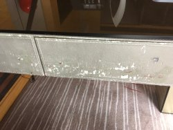 Worn front of desk
