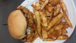 We offer sandwiches,wraps,pasta,seafood,steaks,ribs, and chicken. Always happy to have children!
