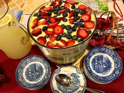Tasty Tri-Color Trifle was served today at Afternoon Tea at the 1870 Wedgwood Inn of New Hope.