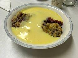 crumble with custard