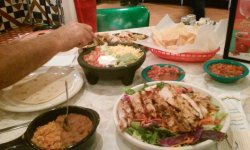 My salad in front and hubs' fajitas plates are the rest and free bowl chips and salda