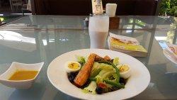 "Salmon salad and ""smoothie"" :))"