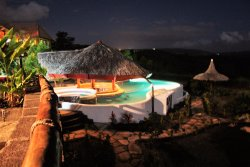 At night by the pool!