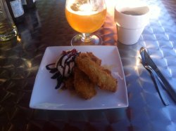 Deep fried banana with coffe (and a Duvel beer).