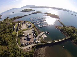 Birds eye view of Craobh Haven and Lord of the Isles bar, restaurant and stores.
