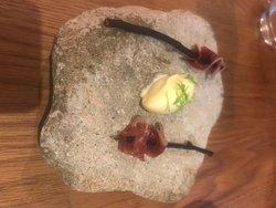 Amazing beef, nasturtium. Onion, courgette. Pea, whey. Duck, pine.