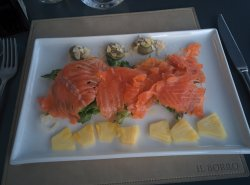 Smoked salmon and pineapple....refreshing on a hot summer evening!