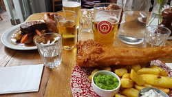Delicious vegetarian beetroot nut roast and excellent fish and chips
