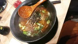 Ramen noodle soup, replaced by Soba, vegan and delicious!