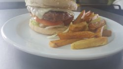 Cheeseburger & chips, homemade of course😊
