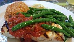 delicious halibut with tomato caper sauce
