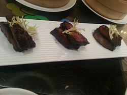 Roast pork slices, so delicate to serve at each portion.