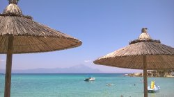 Platanitsi beach - a view on Mt. Athos from the water sports sun bed area