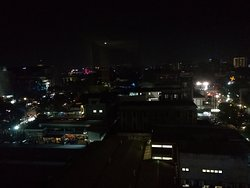Roof top scenery from our room at night overlooking the rainbow bridge.