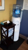 Water and towels in gym
