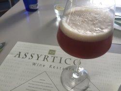 Top level greek food & beer at Assyrtico, Thira, Santorini.